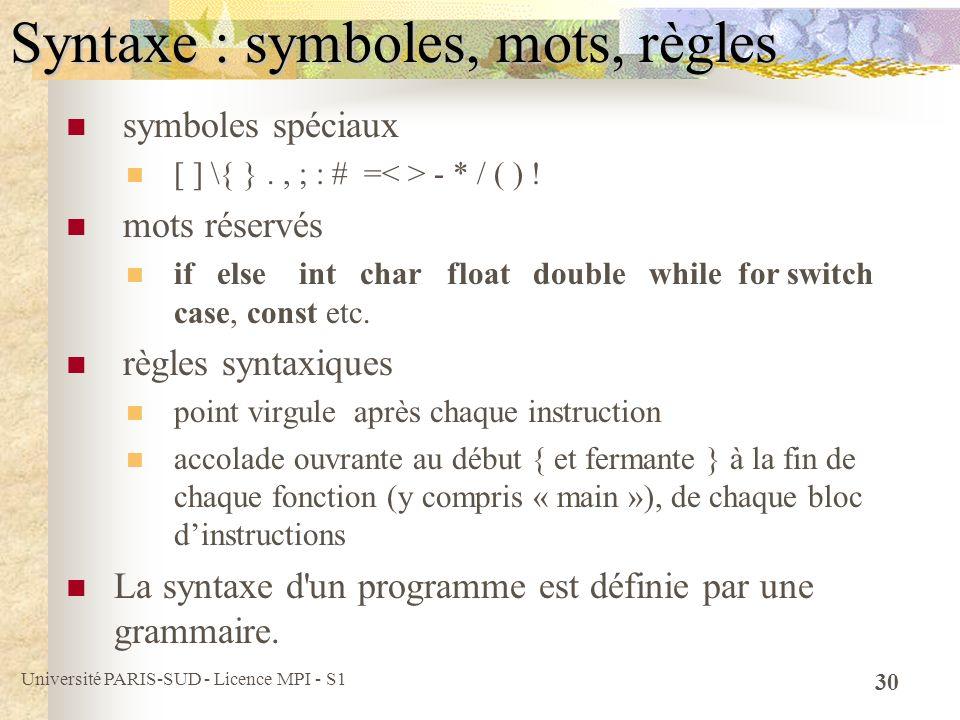 Syntaxe : symboles, mots, règles