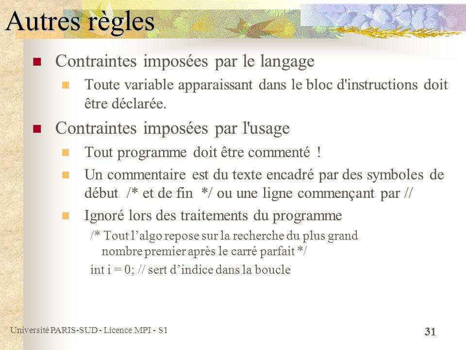 Autres règles Contraintes imposées par le langage