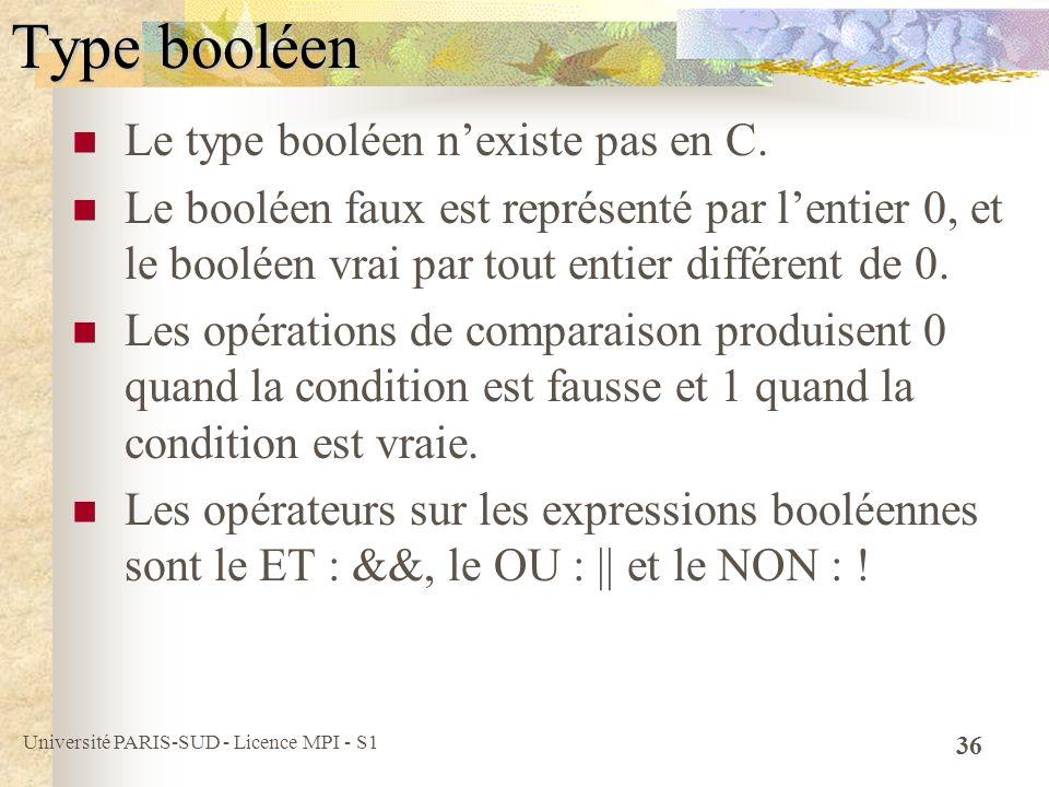 Type booléen Le type booléen n'existe pas en C.