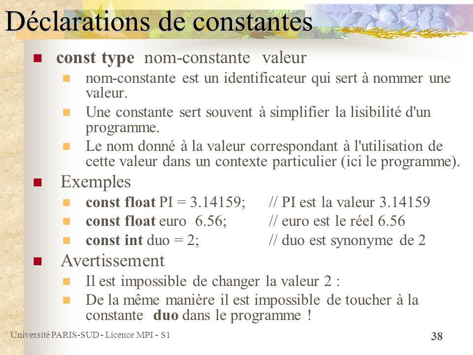 Déclarations de constantes