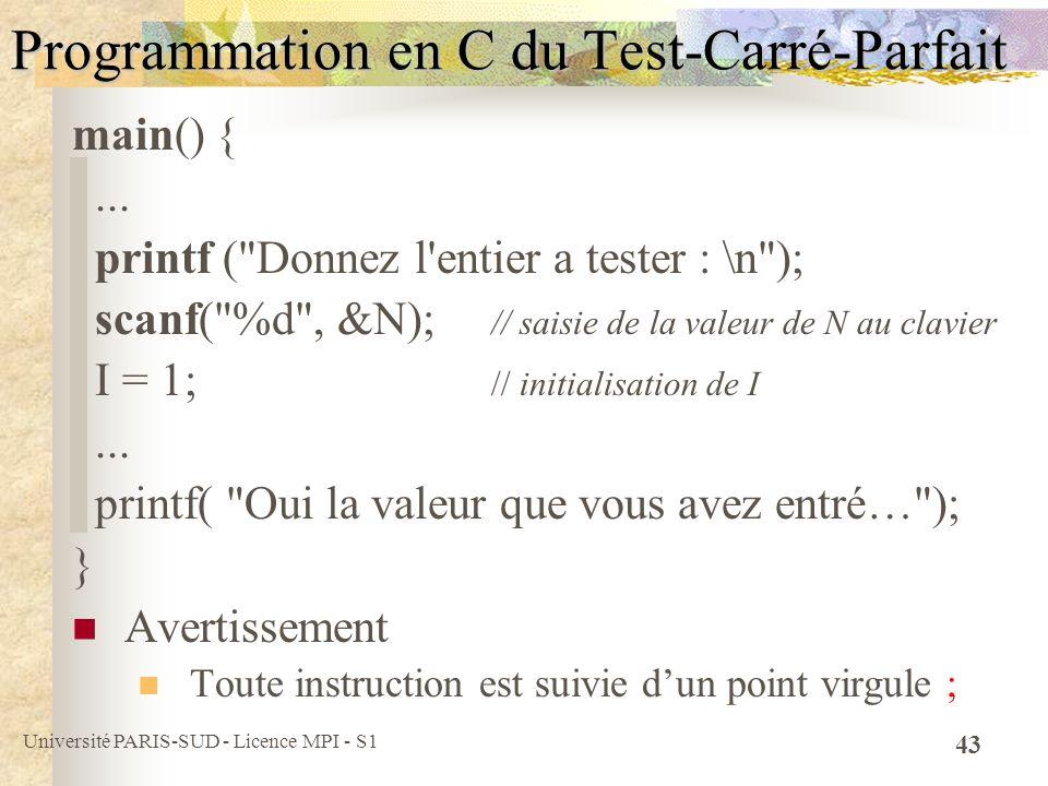Programmation en C du Test-Carré-Parfait