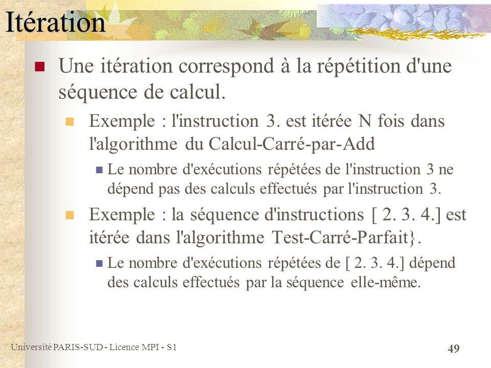 Itération Une itération correspond à la répétition d une séquence de calcul.