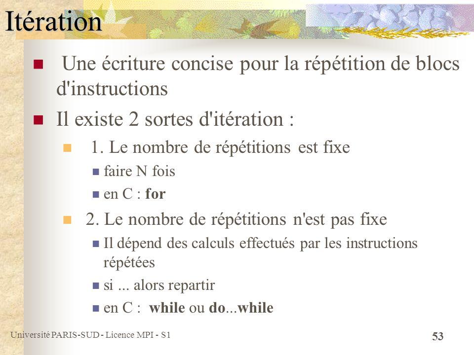 Itération Une écriture concise pour la répétition de blocs d instructions. Il existe 2 sortes d itération :