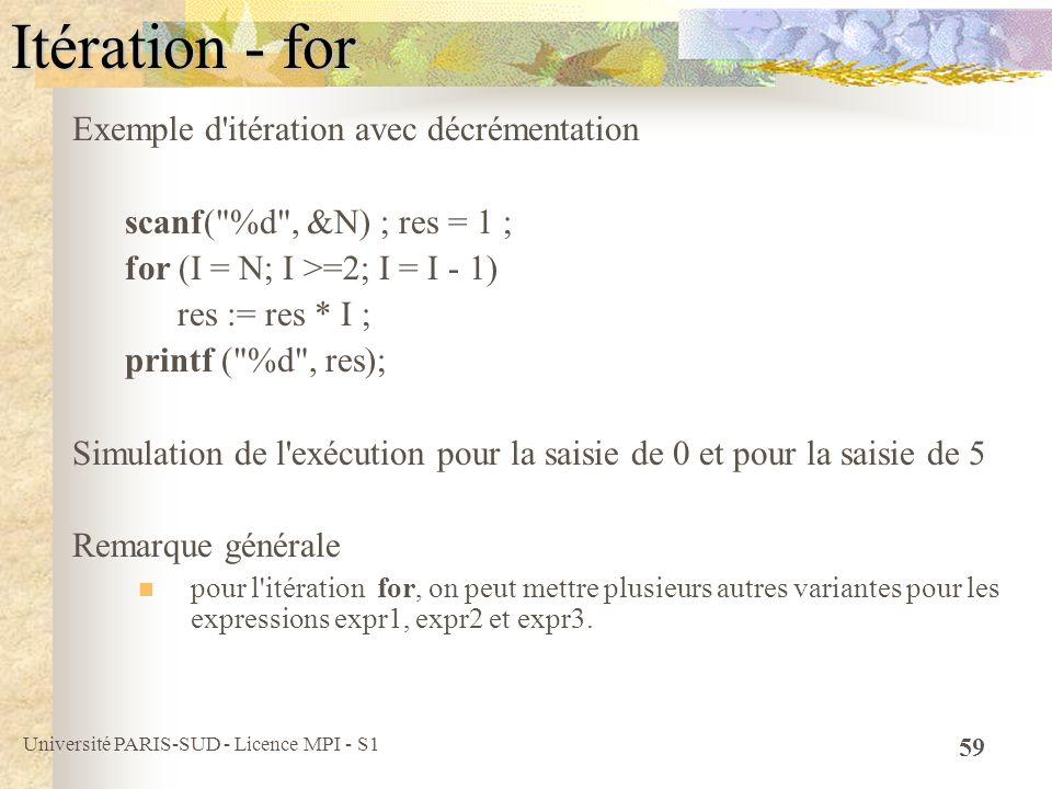 Itération - for Exemple d itération avec décrémentation