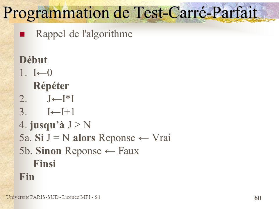 Programmation de Test-Carré-Parfait