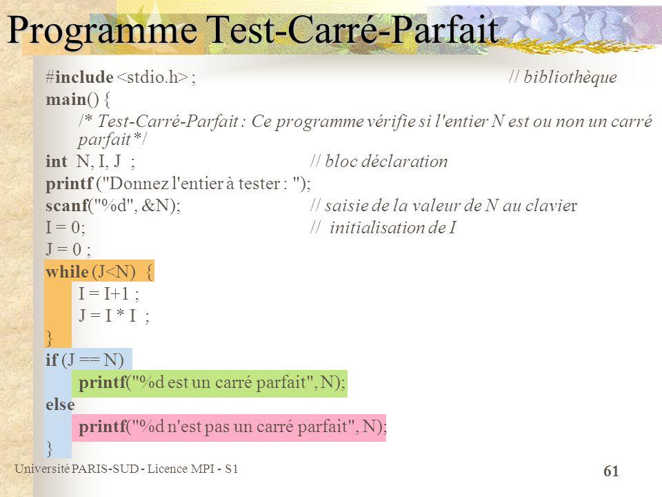 Programme Test-Carré-Parfait