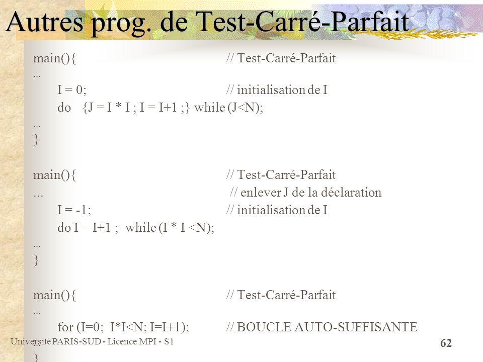 Autres prog. de Test-Carré-Parfait