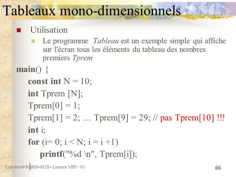 Tableaux mono-dimensionnels