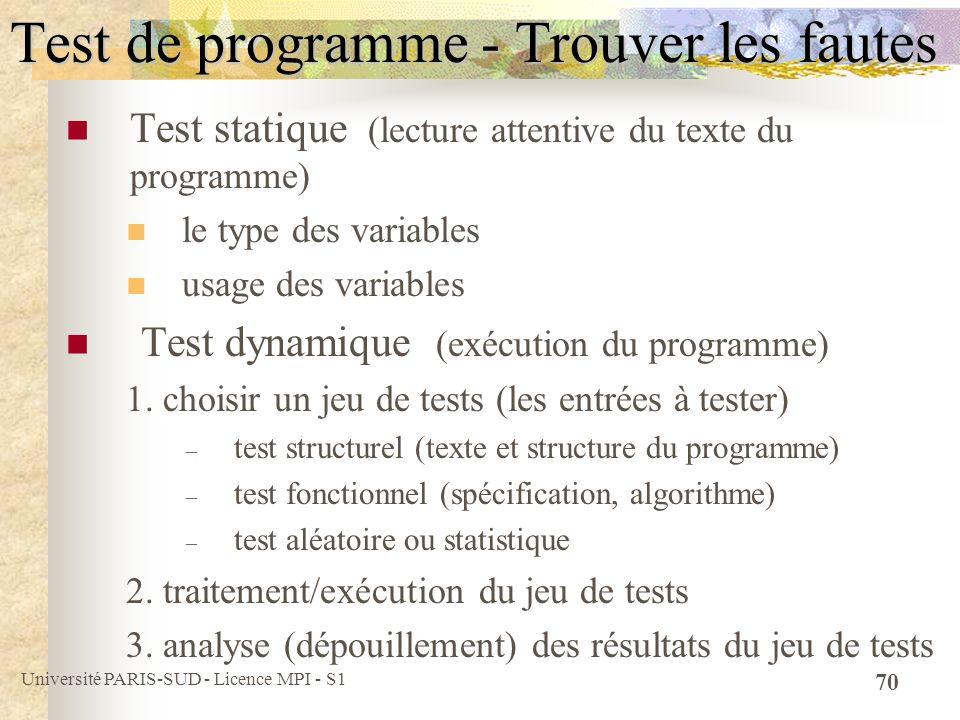 Test de programme - Trouver les fautes