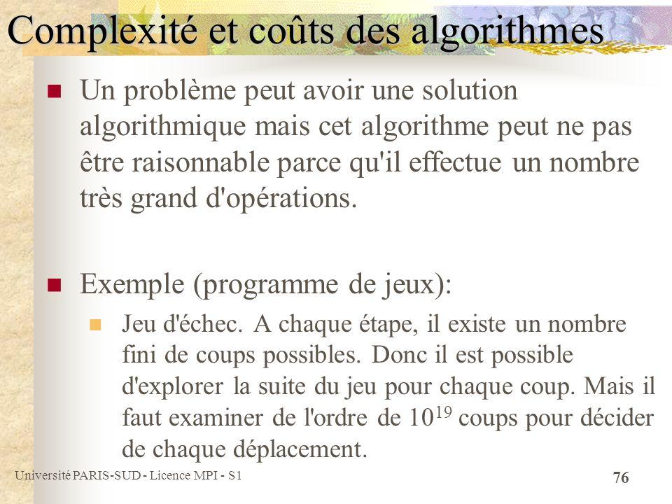 Complexité et coûts des algorithmes