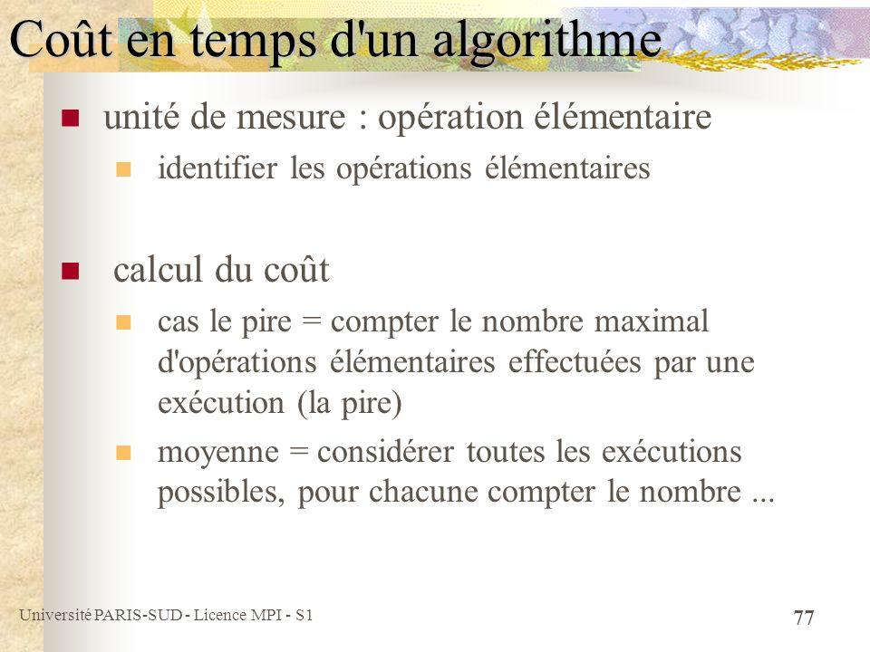 Coût en temps d un algorithme