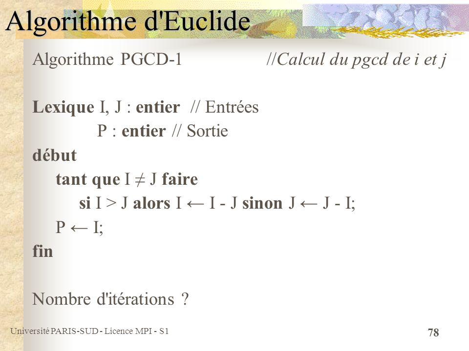 Algorithme d Euclide Algorithme PGCD-1 //Calcul du pgcd de i et j