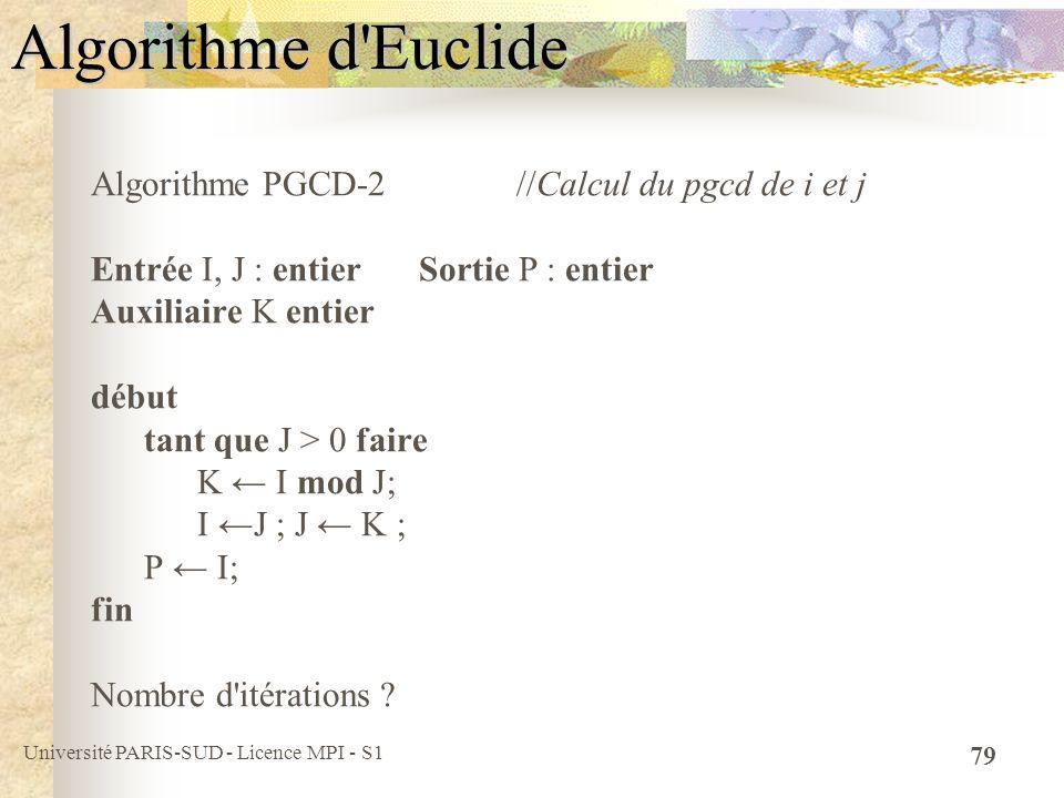 Algorithme d Euclide Algorithme PGCD-2 //Calcul du pgcd de i et j