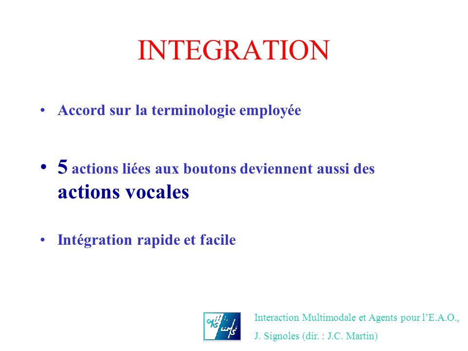 INTEGRATION Accord sur la terminologie employée. 5 actions liées aux boutons deviennent aussi des actions vocales.