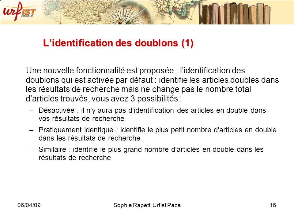 L'identification des doublons (1)