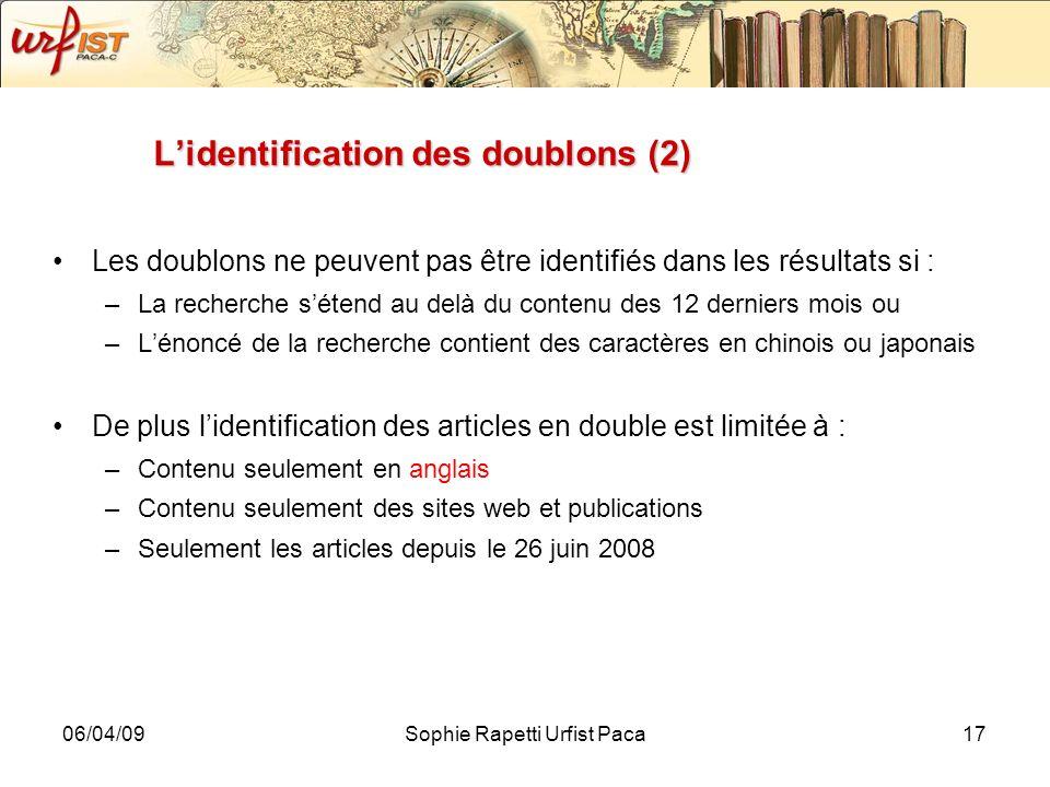 L'identification des doublons (2)
