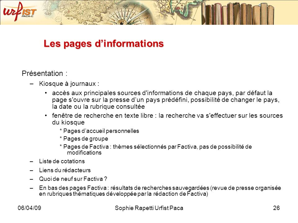 Les pages d'informations