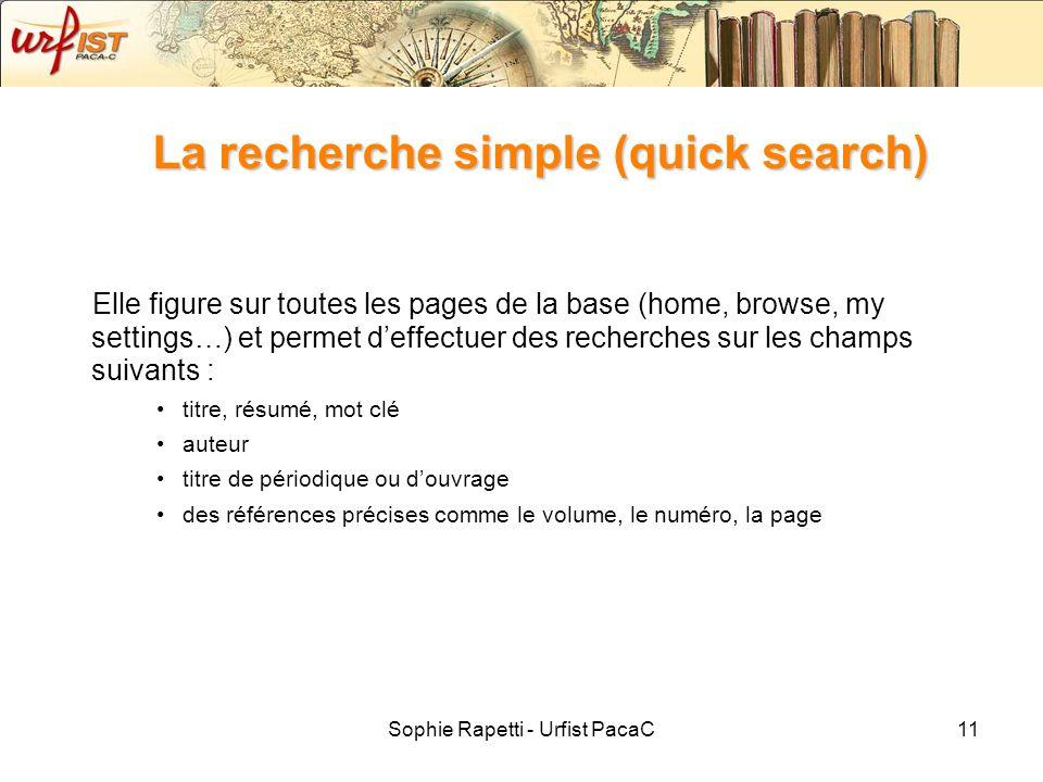 La recherche simple (quick search)