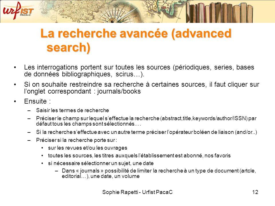 La recherche avancée (advanced search)