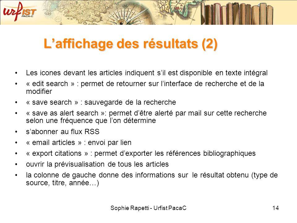 L'affichage des résultats (2)