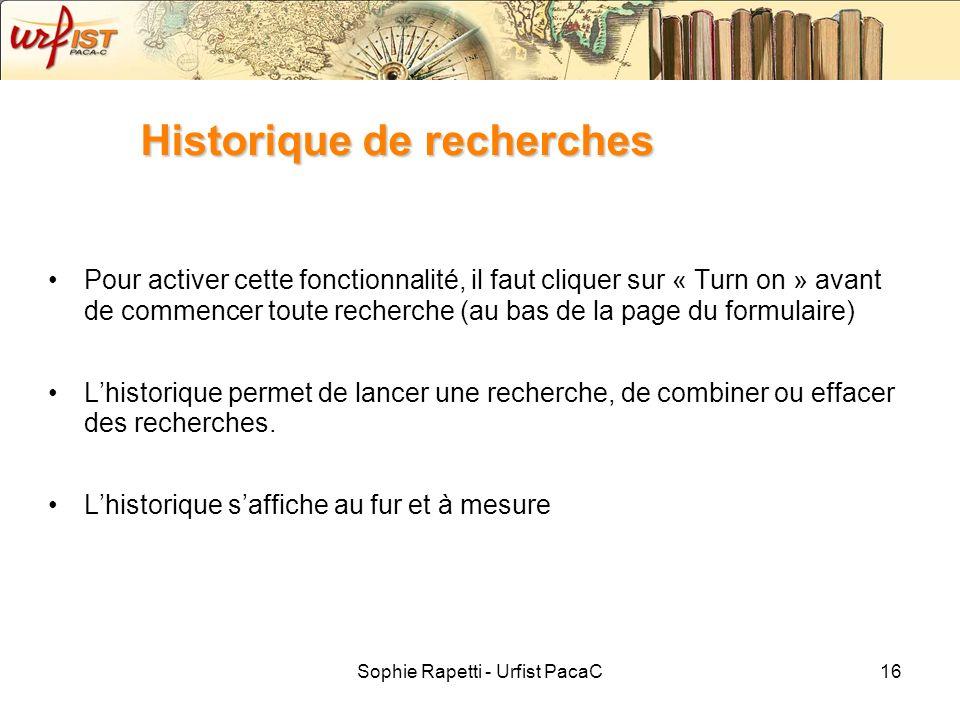 Historique de recherches