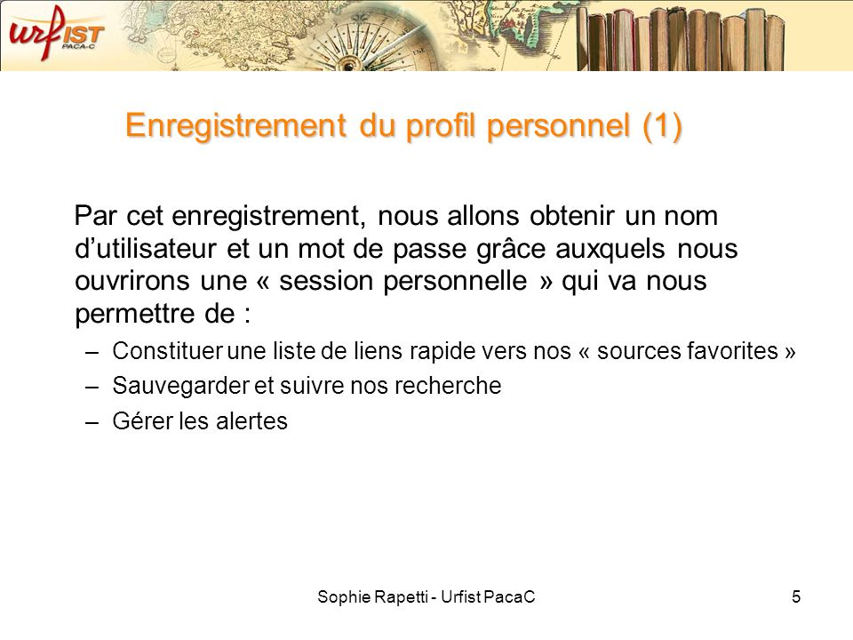 Enregistrement du profil personnel (1)
