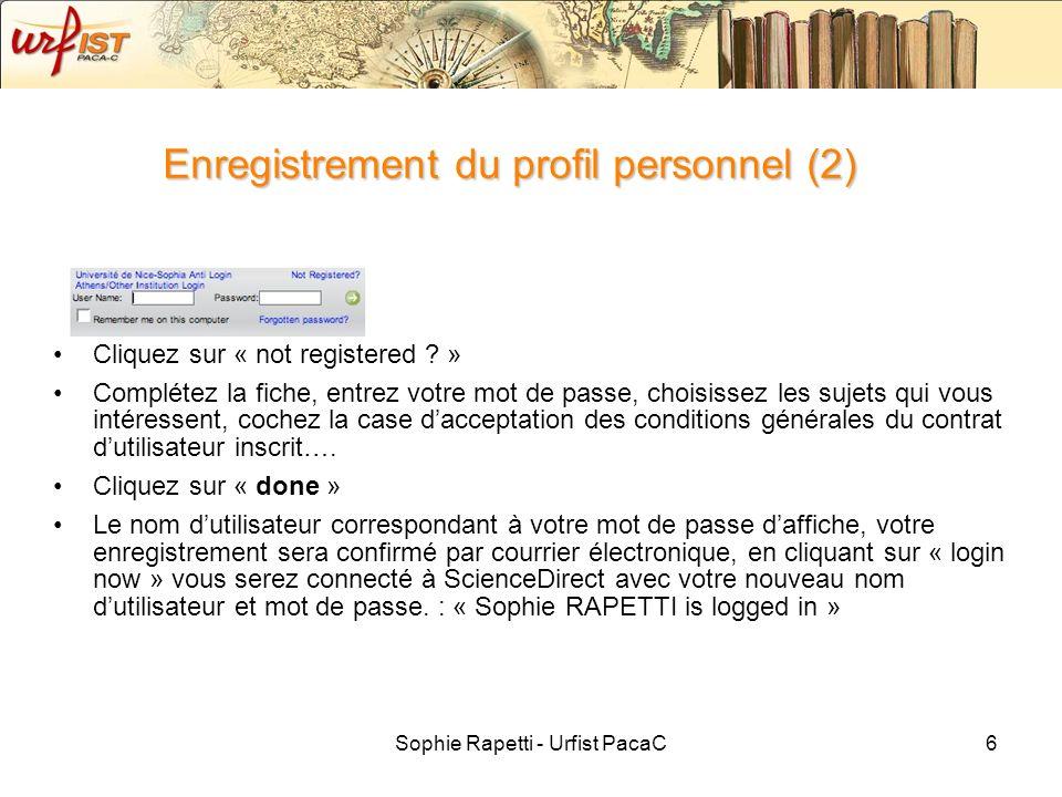 Enregistrement du profil personnel (2)