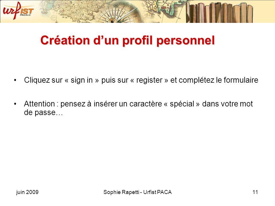 Création d'un profil personnel