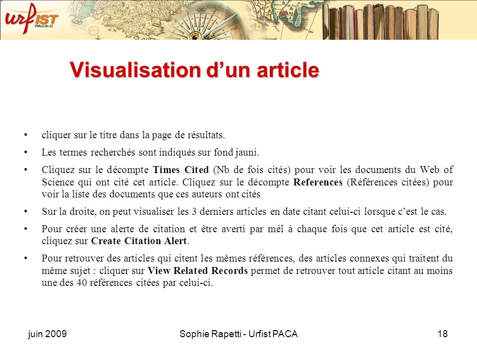 Visualisation d'un article