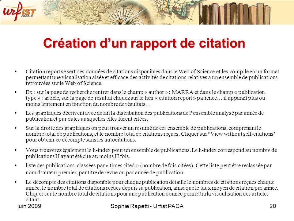 Création d'un rapport de citation