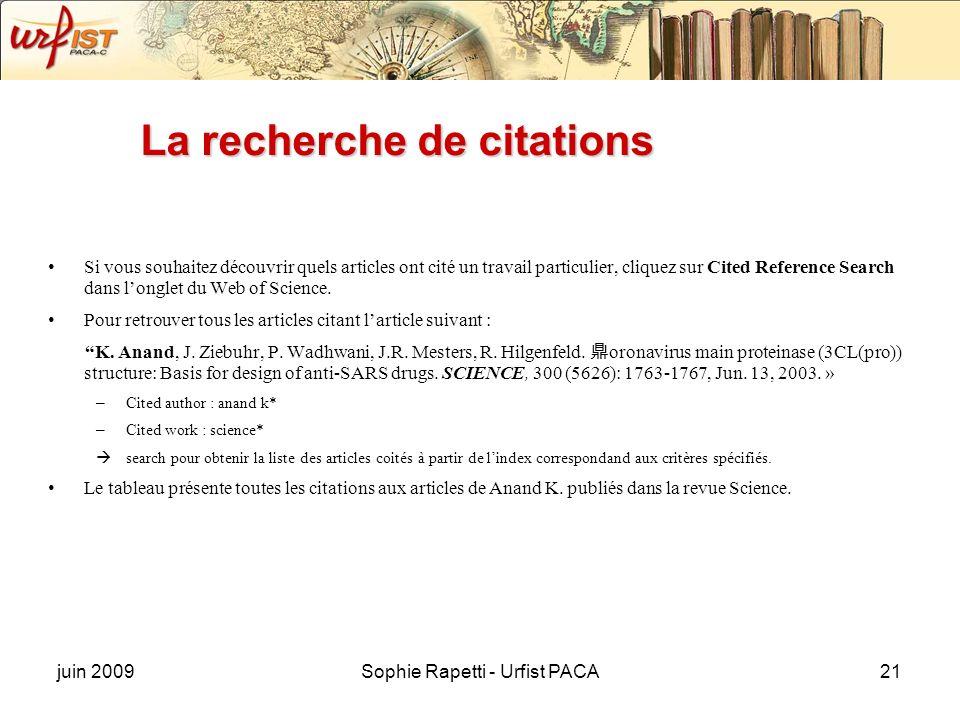 La recherche de citations