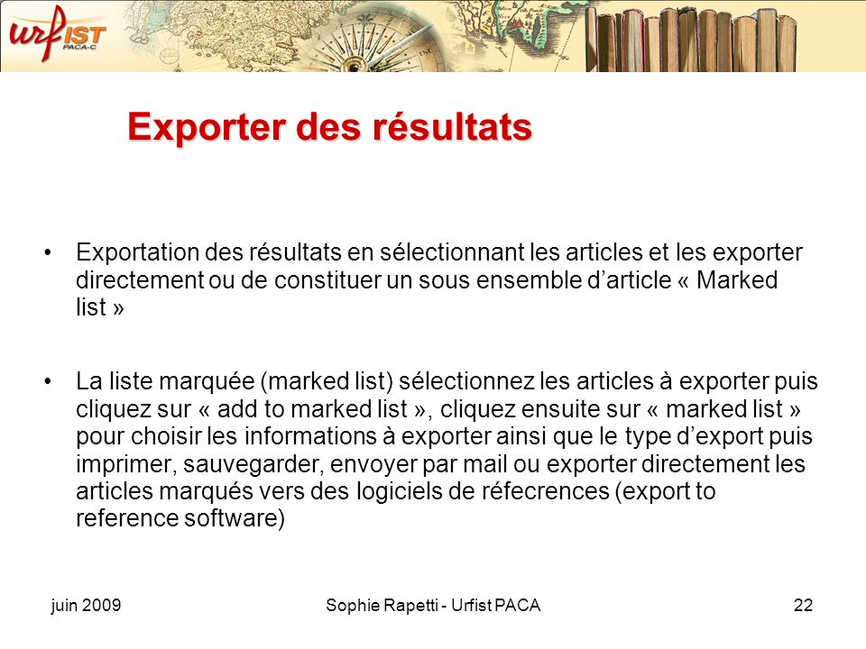 Exporter des résultats