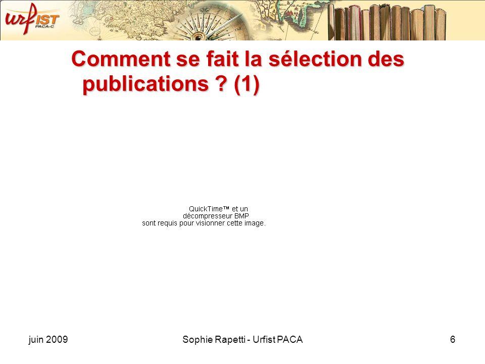 Comment se fait la sélection des publications (1)