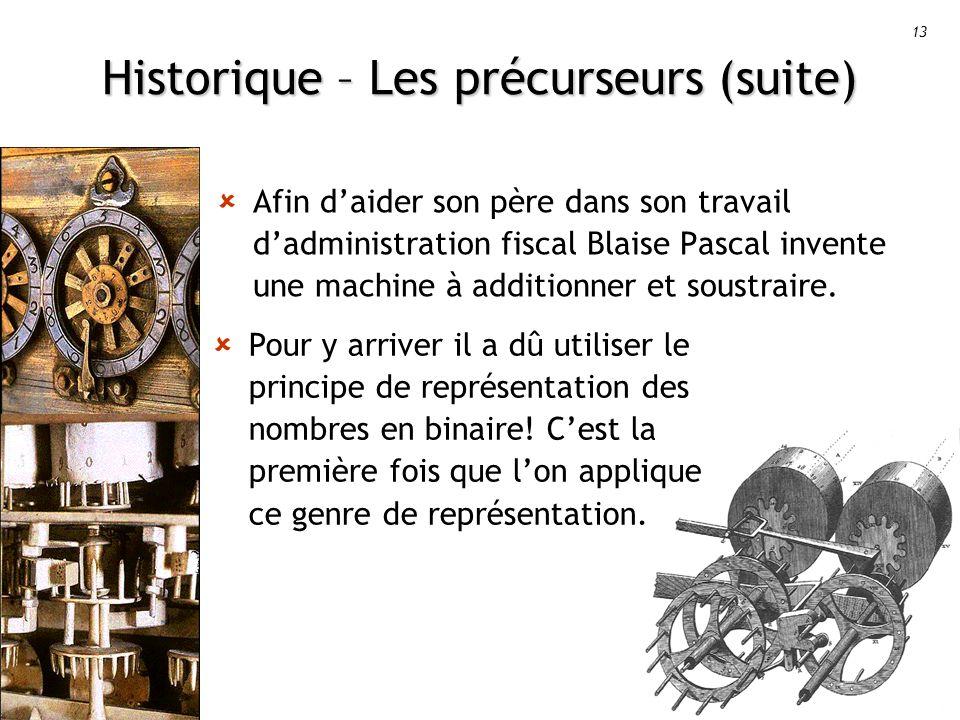 Historique – Les précurseurs (suite)