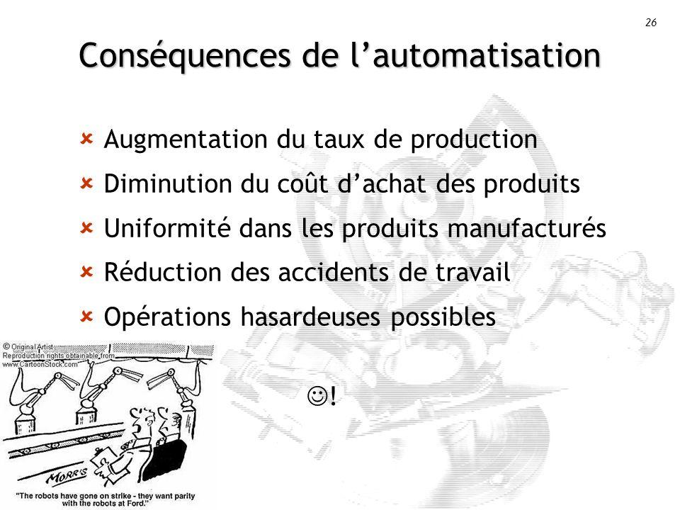 Conséquences de l'automatisation