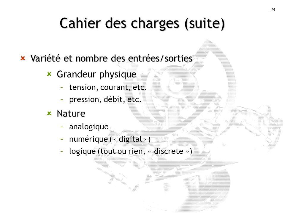 Cahier des charges (suite)
