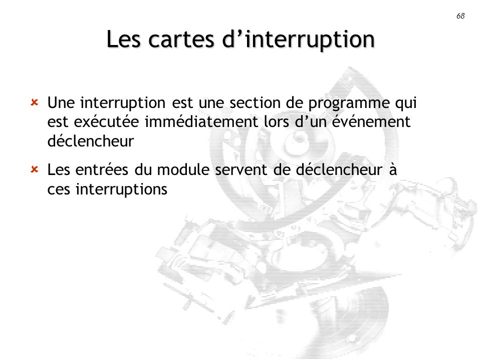 Les cartes d'interruption