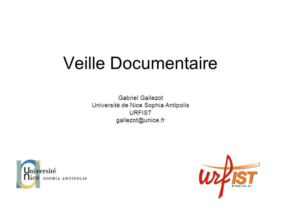 Veille Documentaire Gabriel Gallezot Université de Nice Sophia Antipolis URFIST gallezot@unice.fr