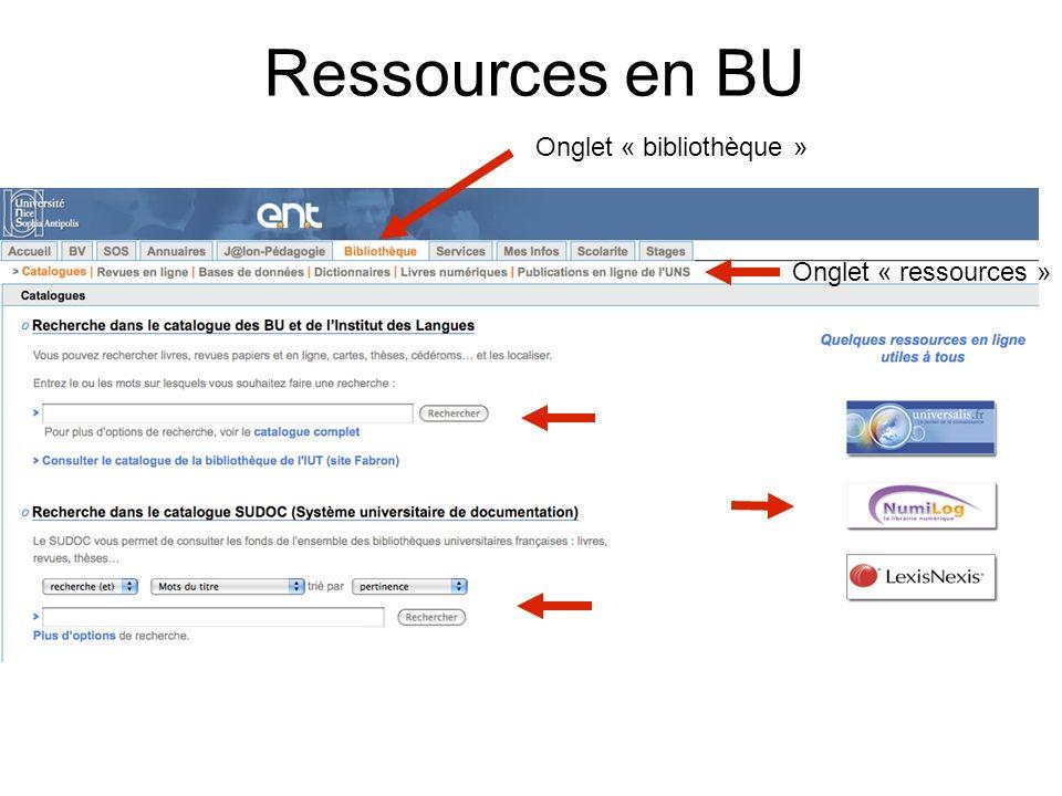 Ressources en BU Onglet « bibliothèque » Onglet « ressources »