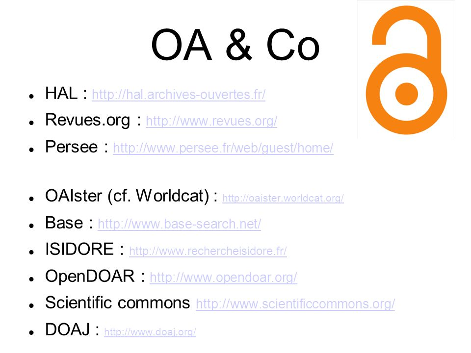 OA & Co HAL : http://hal.archives-ouvertes.fr/
