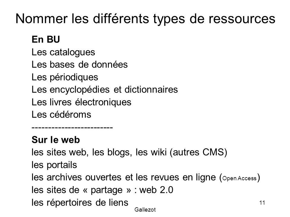 Nommer les différents types de ressources
