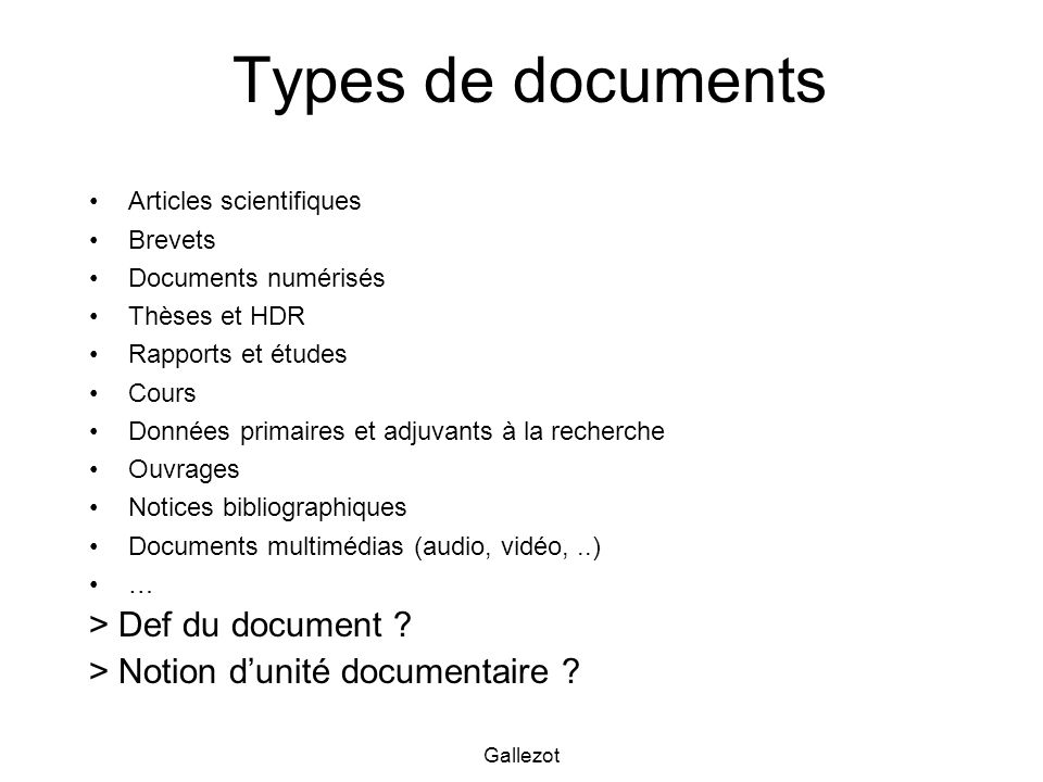 Types de documents > Def du document