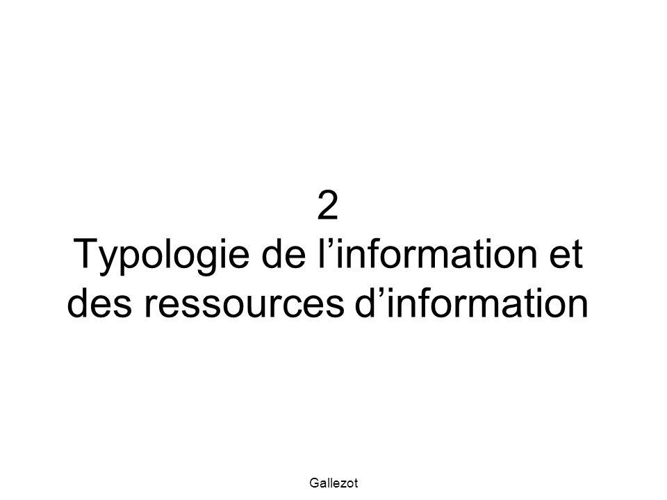 2 Typologie de l'information et des ressources d'information