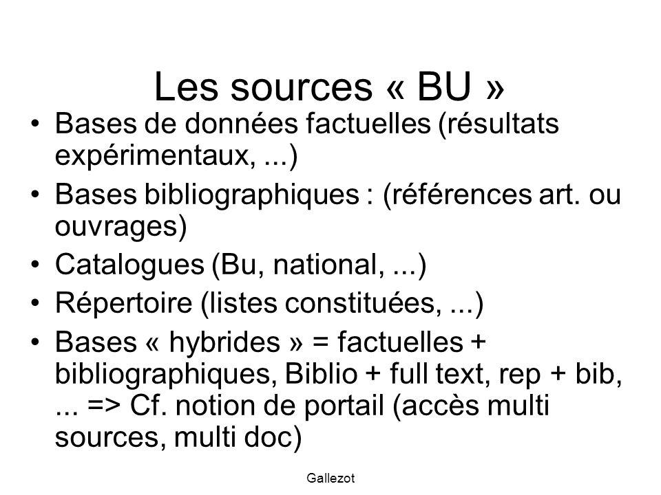 Les sources « BU » Bases de données factuelles (résultats expérimentaux, ...) Bases bibliographiques : (références art. ou ouvrages)