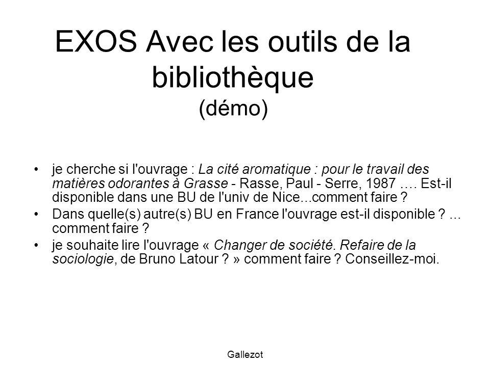 EXOS Avec les outils de la bibliothèque (démo)
