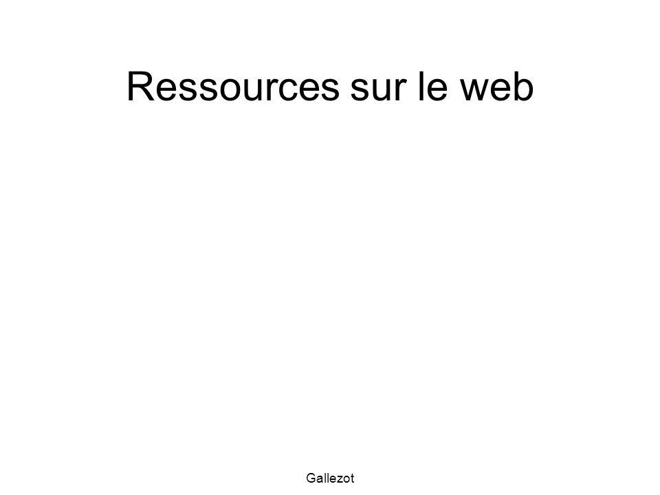 Ressources sur le web Gallezot