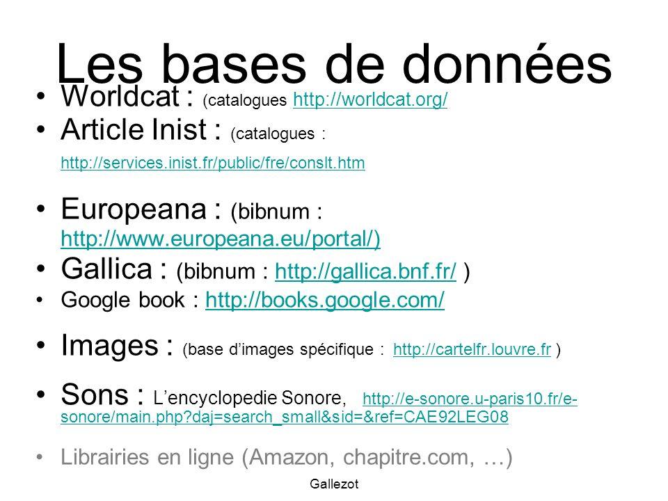 Les bases de données Worldcat : (catalogues http://worldcat.org/