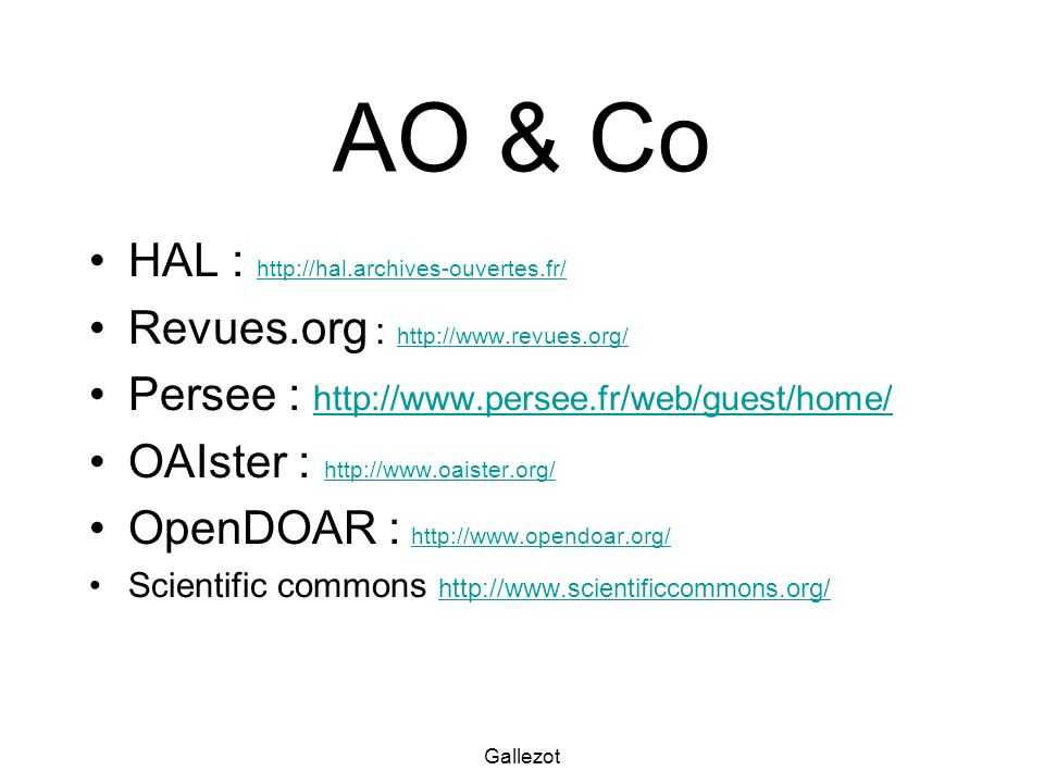 AO & Co HAL : http://hal.archives-ouvertes.fr/