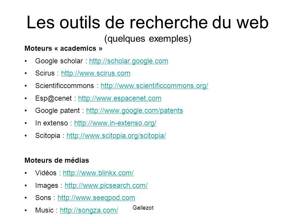 Les outils de recherche du web (quelques exemples)
