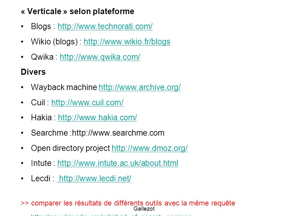 « Verticale » selon plateforme Blogs :